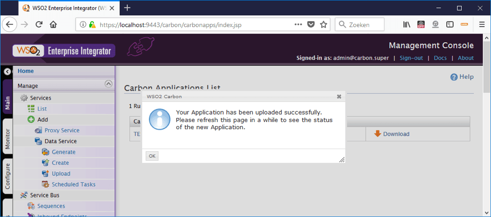 8 ways to deploy a car file to wso2 - management UI application uploaded