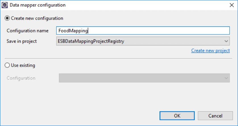 Data mapper configuration - create new configuration