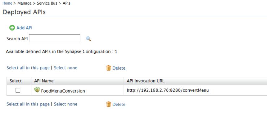 Deployed APIs