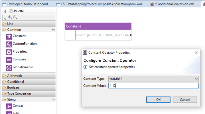Developer studio configure constant operator