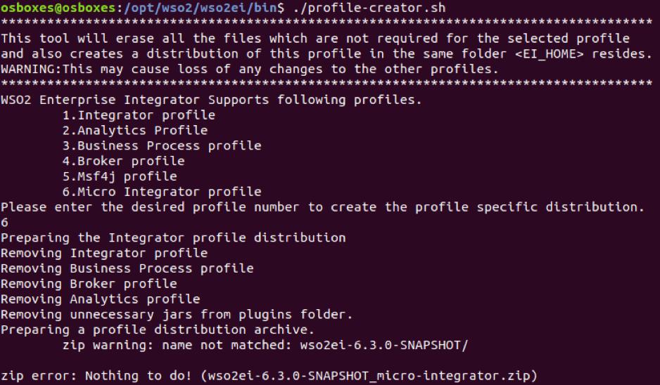 Running the profile-creator script | Micro Integrator Intro