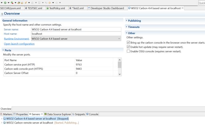 Server WSO2 Carbon 4.4. based server at localhost