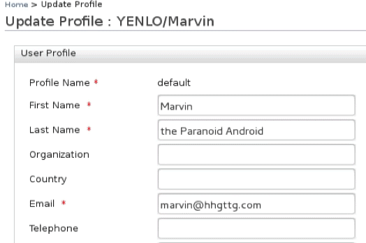 Update Profile - Yenlo User Store _WSO2 IS 5.7.0