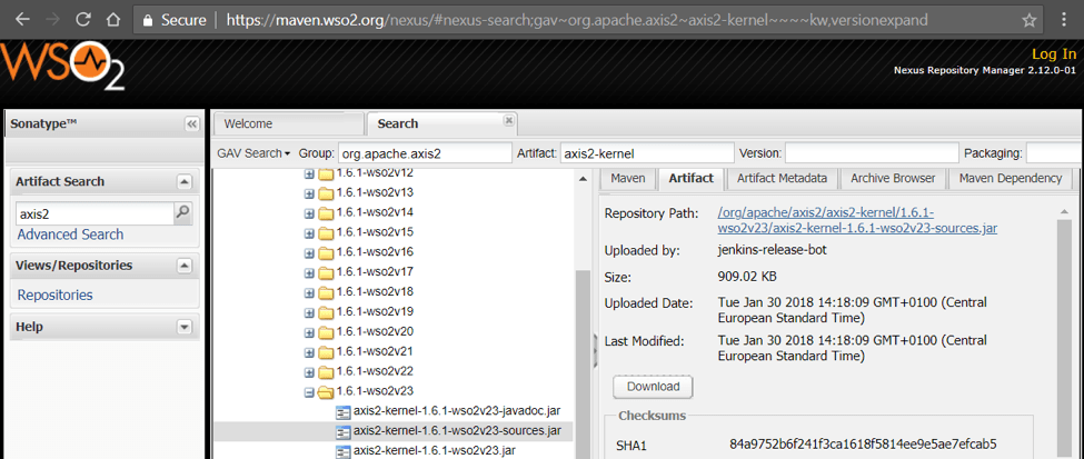 WSO2 Maven Artifacts Axis 2 - Building WSO2 products from source 2.0 - part 2